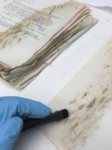 Vacuuming mold off of archival documents while wearing nitrile gloves